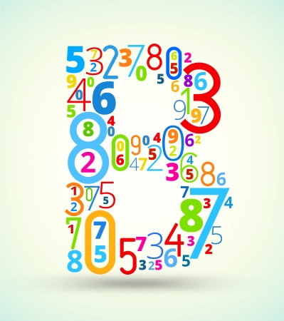 cryptic: Letter B,  from rainbow colored numbers typography vector font Illustration