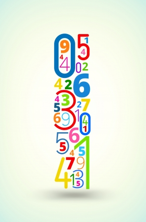 cryptic: Letter I,  from rainbow colored numbers typography vector font Illustration