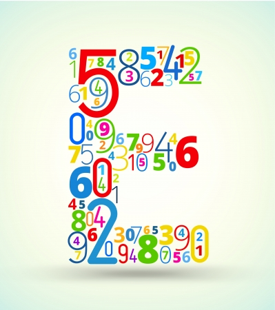 the letter e: Letter E,  from rainbow colored numbers typography vector font