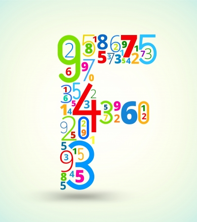cryptic: Letter F,  from rainbow colored numbers typography vector font