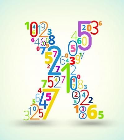 Letter X,  from rainbow colored numbers typography vector font Illustration