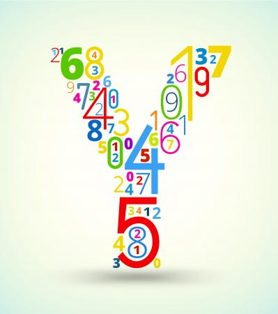 cryptography: Letter Y,  from rainbow colored numbers typography vector font