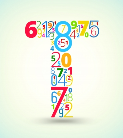 Letter T,  from rainbow colored numbers typography vector font
