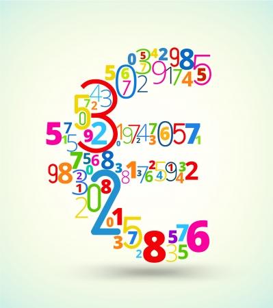 euro teken: Euro teken van de regenboog gekleurde nummers typografie vector font Stock Illustratie