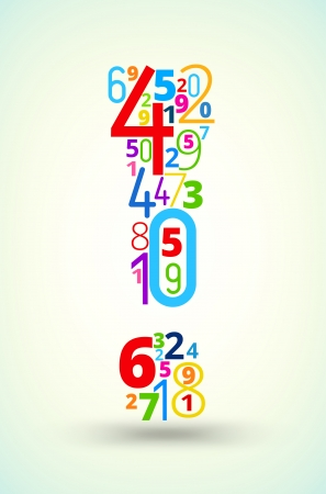 cryptogram: Exclamation point,  from rainbow colored numbers typography vector font
