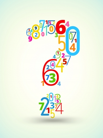 Question mark,  from rainbow colored numbers typography vector font Vector