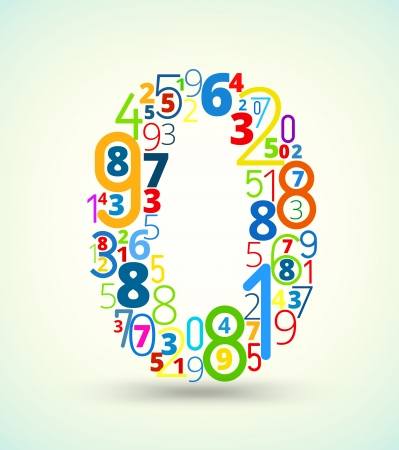 cryptogram: Number 0,  from rainbow colored numbers typography vector font