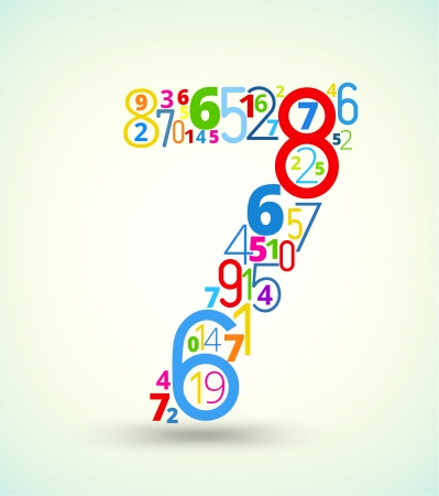 cryptogram: Number 7,  from rainbow colored numbers typography vector font