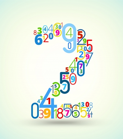 cryptography: Number 2,  from rainbow colored numbers typography vector font