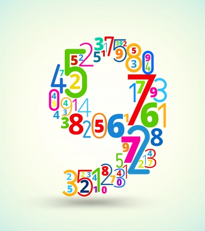 cryptogram: Number 9,  from rainbow colored numbers typography vector font
