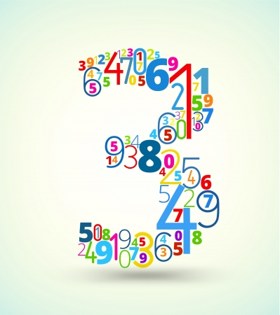 cryptogram: Number 3,  from rainbow colored numbers typography vector font