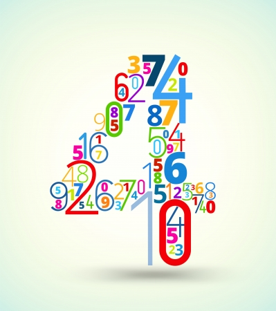 number 4: Number 4,  from rainbow colored numbers typography vector font