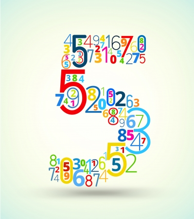 algorithm: Number 5,  from rainbow colored numbers typography vector font