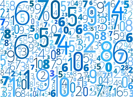 numerical: Vector blue background from different numbers typography on white Illustration