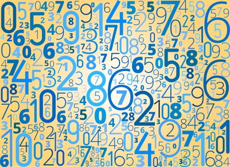 Vector blue background  from different numbers typography on yellow