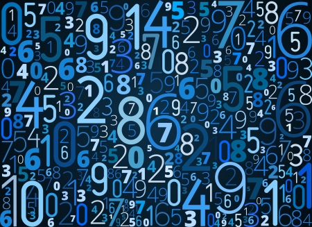 cryptogram: Vector blue background  from different numbers typography