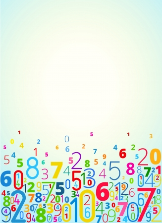 cryptogram: Vector rainbow colored background  from numbers with copy space top Illustration
