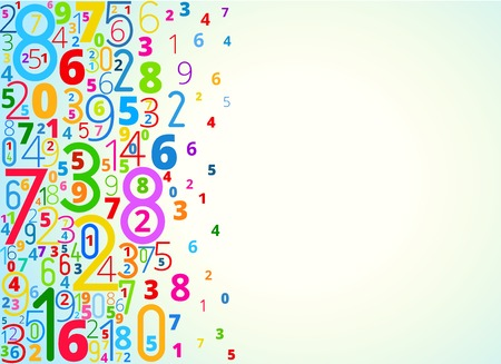 numerical: Vector rainbow colored background  from numbers with copy space right