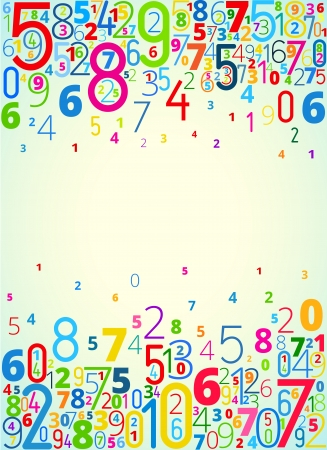 math: Vector rainbow colored background  from numbers with copyspace center Illustration