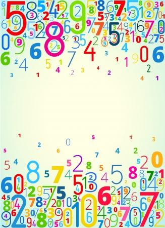 Vector regenboog gekleurde achtergrond van nummers met copyspace centrum