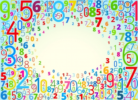 cryptogram: Vector rainbow colored background  from numbers with copyspace center Illustration