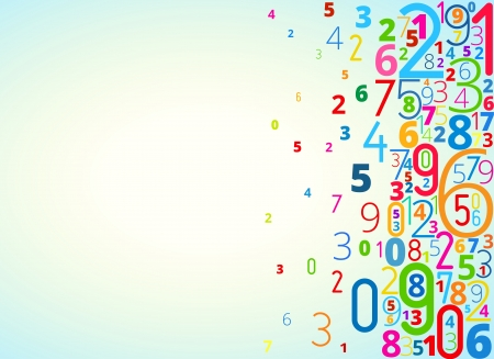 cryptography: Vector rainbow colored background  from numbers with copyspace right