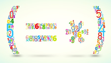 cryptogram: Math operations,  from rainbow colored numbers  vector font