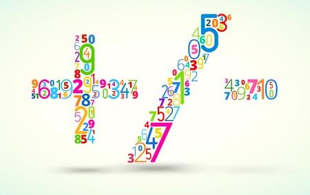 operations: Les op�rations math�matiques, de couleur arc en ciel num�ros vecteur police