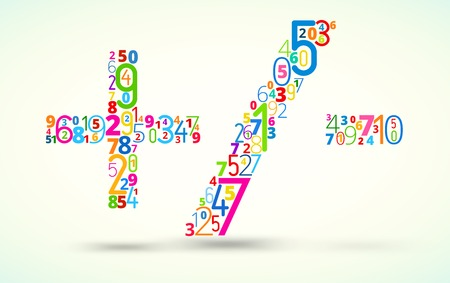 addition: Math operations,  from rainbow colored numbers  vector font