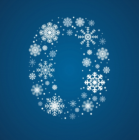 Number 0  maked from frosty snowflakes, vector font
