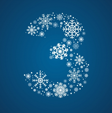 Number 3 maked from frosty snowflakes, vector font Illustration
