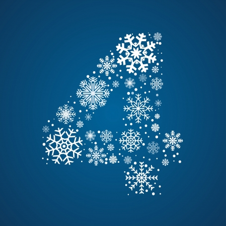 number 4: Number 4 maked from frosty snowflakes, vector font