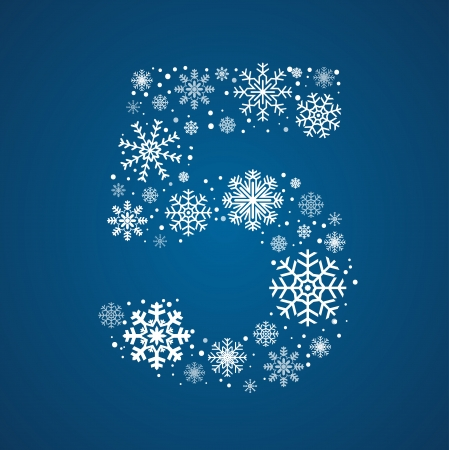 Number 5 maked from frosty snowflakes, vector font Vector