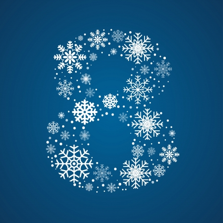 Number 8 maked from frosty snowflakes, vector font