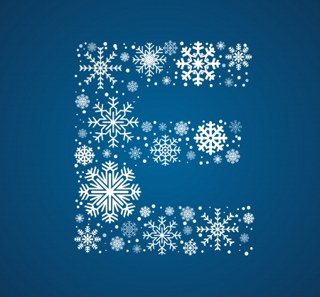 icy: Letter E, maked from frosty snowflakes, vector font