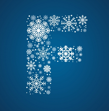 Letter F, maked from frosty snowflakes, vector font Vector