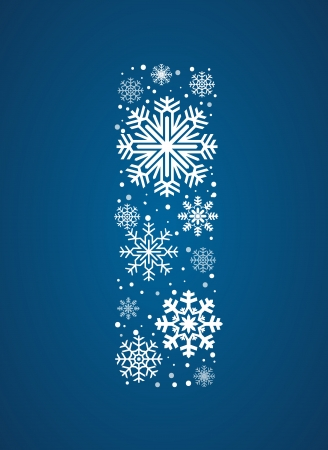 Letter I, maked from frosty snowflakes, vector font Vector
