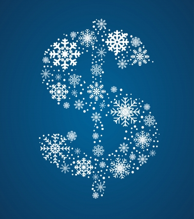 Dollar sign , maked from frosty snowflakes, vector font Vector