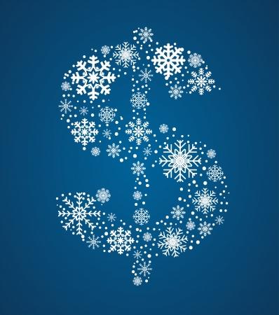 signo pesos: Signo de d�lar, marcada a partir de los copos de nieve helada, fuente vectorial