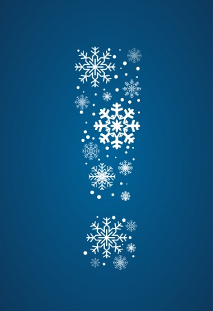 exclamation point: Exclamation point, maked from frosty snowflakes, vector font