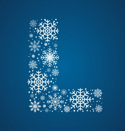 Letter L, maked from frosty snowflakes, vector font Vector
