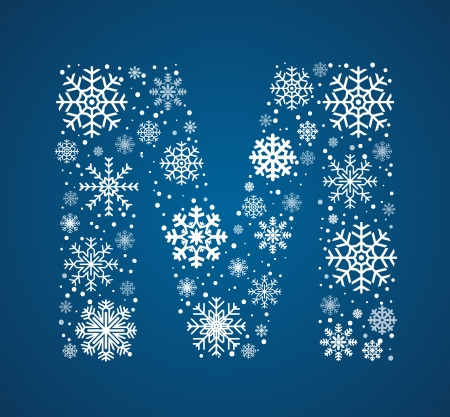 snow storm: Letter M, maked from frosty snowflakes, vector font