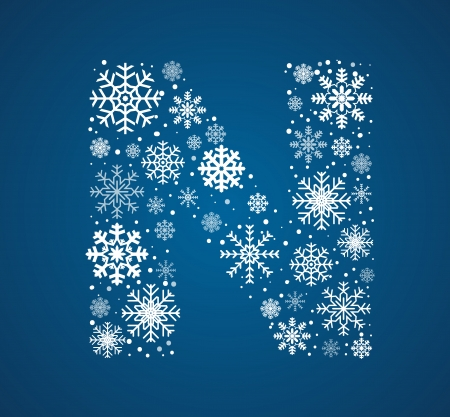Letter N, maked from frosty snowflakes, vector font Vector