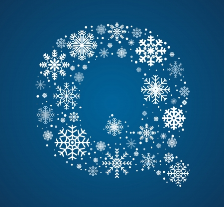 Letter Q maked from frosty snowflakes, vector font Vector