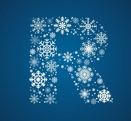 Letter R, maked from frosty snowflakes, vector font Vector