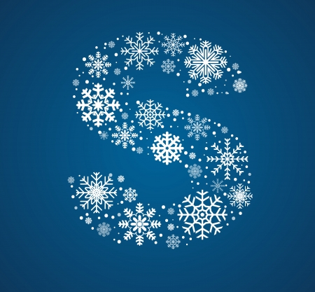 Letter S maked from frosty snowflakes, vector font Vector