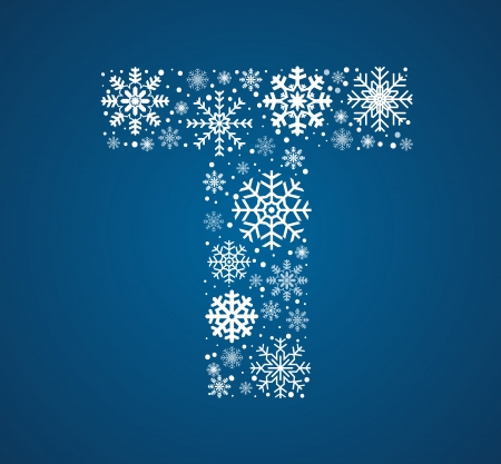 Letter T maked from frosty snowflakes, vector font Vector