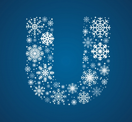 Letter U maked from frosty snowflakes, vector font Vector