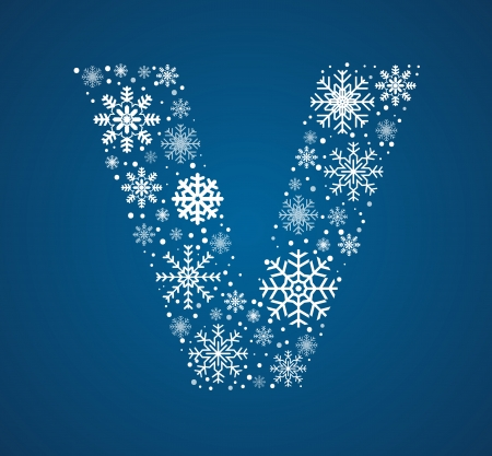 Letter V maked from frosty snowflakes, vector font Vector