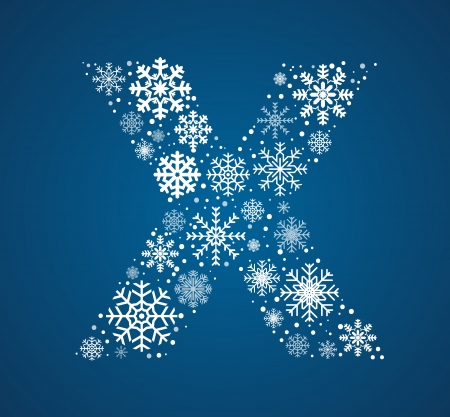 Letter X maked from frosty snowflakes, vector font Vector